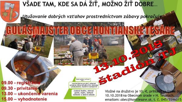 """""""GULÁŠMAJSTER 2018 obce HONTIANSKE TESÁRE"""""""
